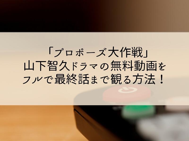 プロポーズ大作戦(山下智久ドラマ)無料動画をフルで最終話まで観る方法!