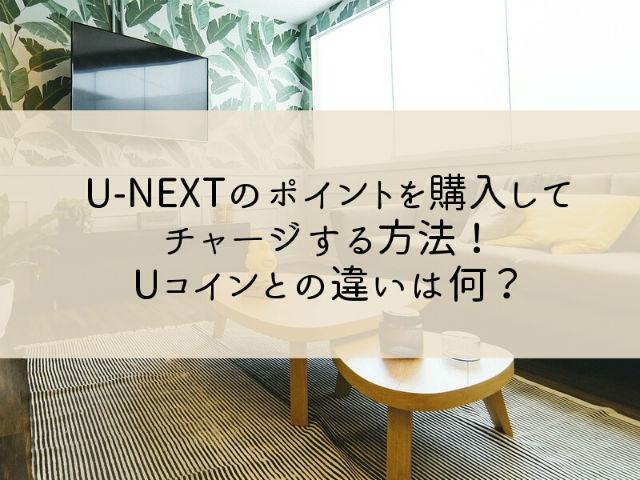 U-NEXTのポイントを購入してチャージする方法!Uコインとの違いは何?
